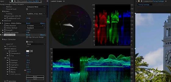 """After Effects CC intègre des outils de correction couleur """"lumetri"""""""