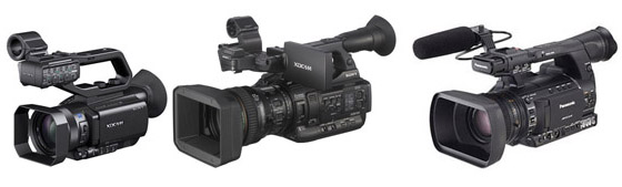 Caméras de poing HD tapeless : Sony XDCam X70 et X200, Panasonic HPX 250