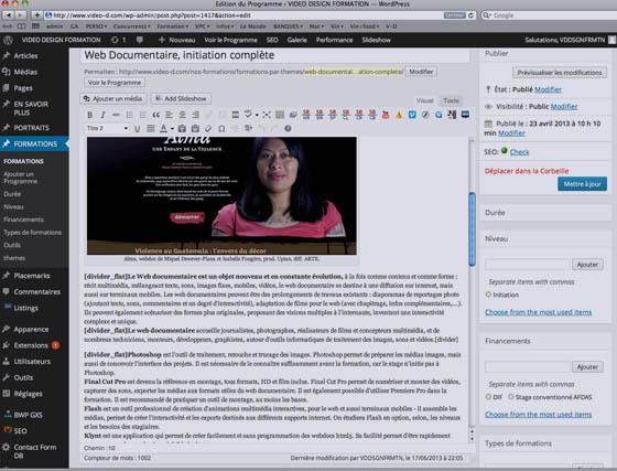 Création et gestion d'une page avec texte, image, vidéos, liens - Video Design Formation.