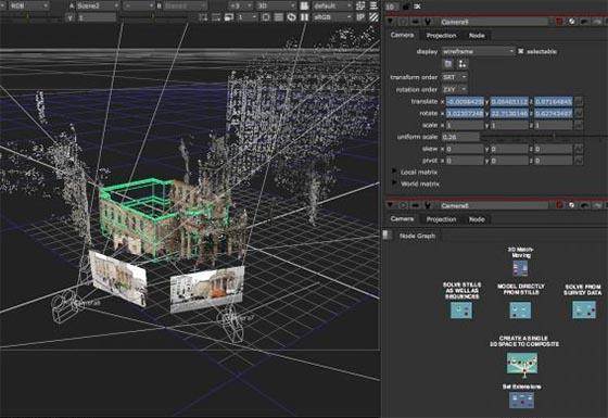 Nuke offre un environnement 3D illimité pour créer et calculer des scènes complexes, composées de plans 2D, modèles 3D, cartes, géométrie basique, caméras, lumières, meshes...