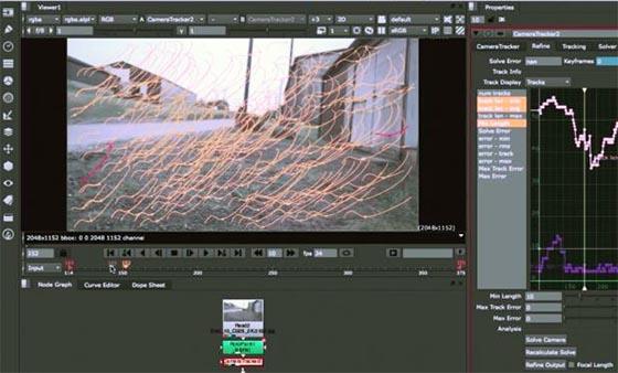 Nuke X et Nuke Studio offrent un tracker 3D de haut niveau, permettant de compositer des éléments 2D/3D avec précision. Le tracker produit un mouvement de caméra 3D ou un nuage de points dans l'espace 3D de Nuke. De nombreuses options sont disponibles, notamment la correction optique/distortion.