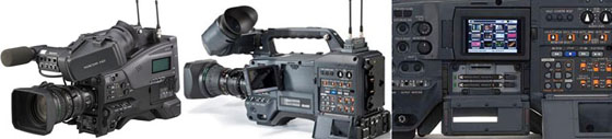 Caméras d'épaule : Sony XDCam 320, Panasonic Avc Intra P2 301...