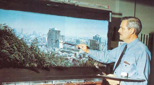 Le célèbre matte painter James Whitlock, en action sur le film Earthquake (1974) : 22 matte paintings réalisés en 12 semaines…
