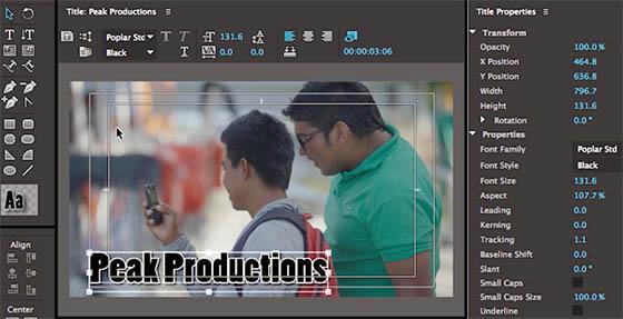 Premiere Pro propose un titrage sur mesure