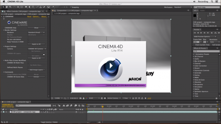 After Effects CC (v12) inclut désormais une version gratuite de CInema 4D et un moteur rendu 3D interne à After Effects, Cinewave.