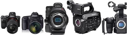 Reflex numériques Sony A7S mark II, Canon 5D mark III, caméras grand capteur Canon C300, Sony FS7, Sony FS5.
