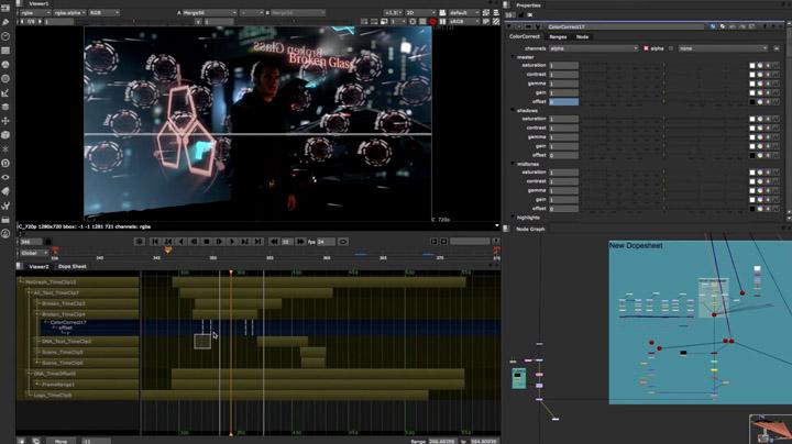 Nuke 8 propose la Dope Sheet, timeline pour visualiser et agencer, monter dans le temps...