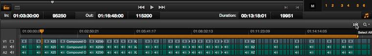 La barre orange reflète sur la timeline la durée sélectionnée pour les rendus.
