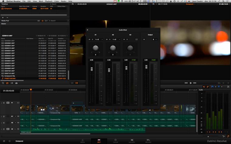 L'onglet EDIT du DaVinci RESOLVE 10 avec l'AUDIO MIXER. On peut observer que le niveau du clip son sélectionné a été modifié (-4,00 db) et qu'on y a créé un fade IN et un fade OUT (marqueurs verts).