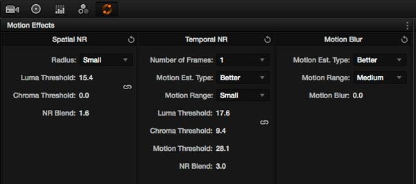 La palette Noise Reduction est completement transformée.