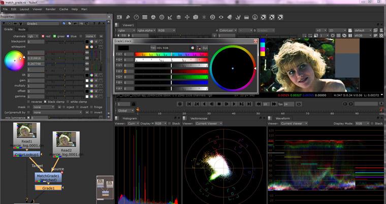 nouveaux outils de gestion de couleur, match grade pour retrouver l'etalonnage automatique entre deux sources et les scopes...