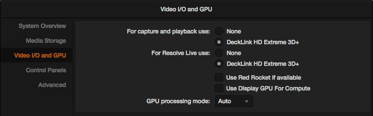 Deux cartes Decklink configurées dans les préférences pour l'utilisation de RESOLVE Live sans perdre les capacités I/O classiques de capture ou de monitoring.