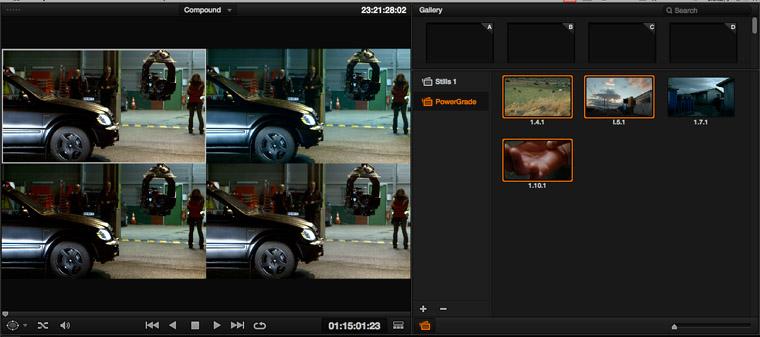 Le viewer comme l'écran de référence affiche cote à cote les Power Grade et le clip en Split Screen