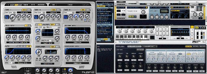 Les instruments Hybrid 2.0 (synthé analogique) et Transfuser 2.0 (échantilloneur) du AIR Instrument Expansion Pack.