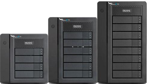 Les tours raid Promise Pegasus 2 sont la solution la plus pertinente pour un stockage de bonne capacité et performant : elles existent en 4 DD (8 To non formatés) pour 1198 Euros HT, 6 Disques (12 ou 18 To) pour 1818 ou 2421 Euros HT, 8 Disques (24 ou 32 To non formatés), pour 2893 ou 3678 Euros HT, avec de nombreux modes raid : raid 0, 1, 5, 50… Ils sont adaptés à du Full HD, ProRes 10 bits, mais aussi du 4K sans souci.