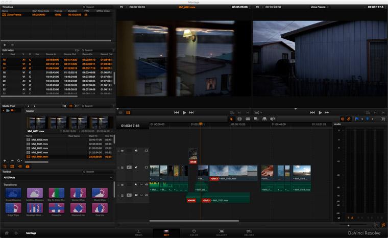 L'onglet EDIT du DaVinci RESOLVE 10 avec en rouge le décalage synchro image son.