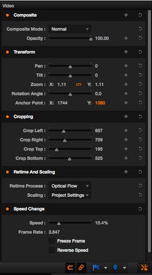 Les nouveaux boutons en orange : de gauche à droite, snapping, link et le bouton Effect Inspector donnant accès aux outils composites, transform, crop, retime and scaling et Speed Change.