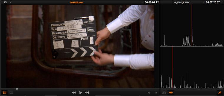 Les deux viewers du MEDIAPOOL dans lesquels on a placé indépendamment la barre de lecture sur le clap et activé le bouton LINK (en bas à droite).