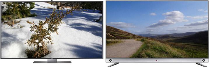 Solution économique de haute qualité pour visualiser du 4K Ultra HD : les TV, ici les 55 pouces Samsung et LG