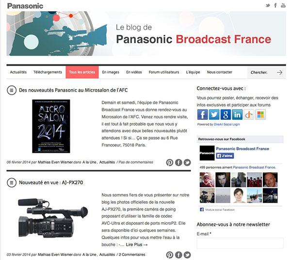 le blog Panasonic