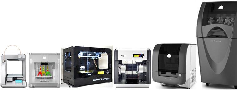 De 500 Euros à plus de 10 000 Euros, des imprimantes en kit aux imprimantes déjà montées : 3D Cube, CubeX Trio, Wanhao, XYZ Da Vinci 2 duo, Projet 1500, Projet 160...