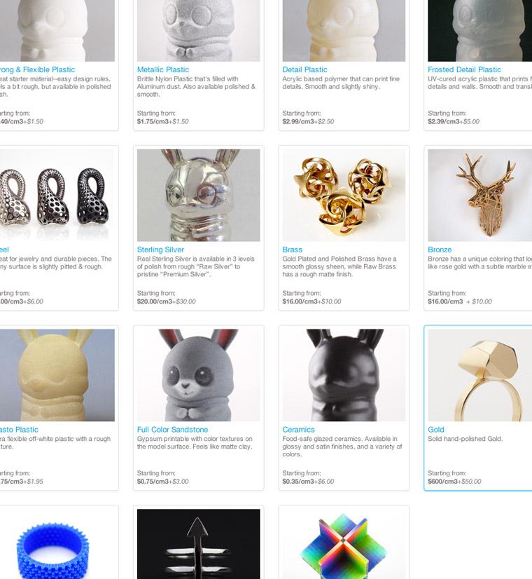 De nombreux matériaux disponibles chez Shapeways.com : plastiques, argent, bronze, acier, platine, ors...