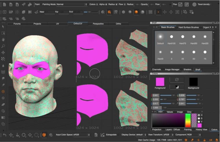 Peinture sur objet 3D en vue orthographique et UV dépliés.