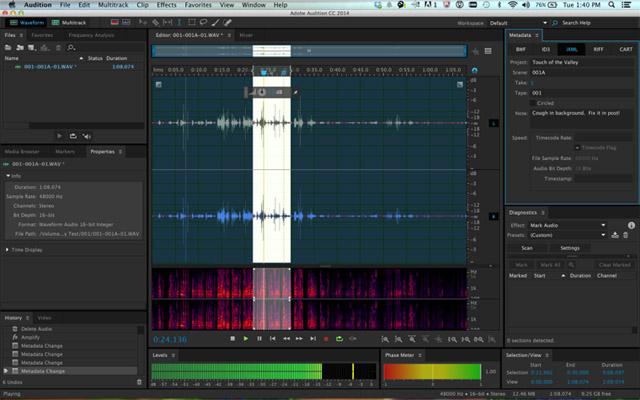 Audition CC 2014.1 propose des vues en modes par ondes et par spectre, plus détaillés sur écrans HiDPI et avec une gestion des métadonnées iXML pour le workflow audio complet