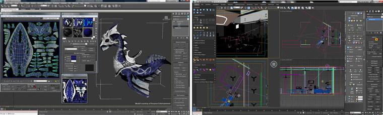 3DS Max, outil de création 3D pro de référence, utilisé à la fois en ingénérie, architecture, design... et jeu vidéo, cinéma...