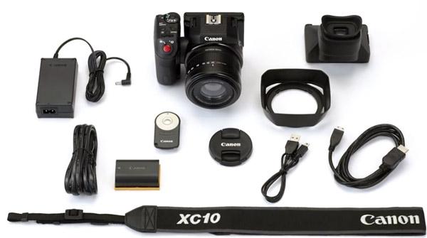 Le Canon XC10 est fourni avec des accessoires typiques Canon, et utilise des batteries LPE6 standard.