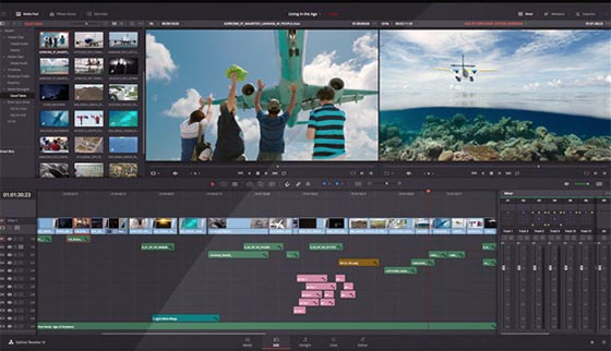 Interface davinci resolve outils de montage
