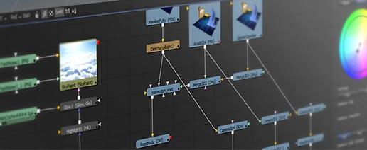 Fusion propose une interface nodale pour régler les opérations de compositing.