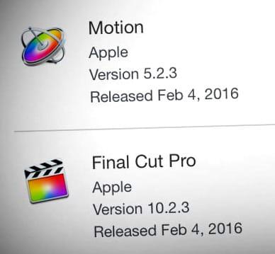 Mise à jour Final Cut Pro X 2016