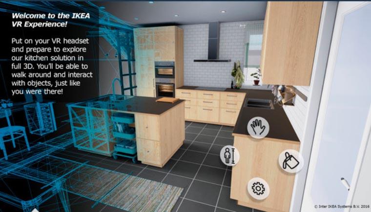 IKEA propose de construire sa cuisine sur mesure dans un environnement VR, donc avec immersion et navigation dans cette cuisine...