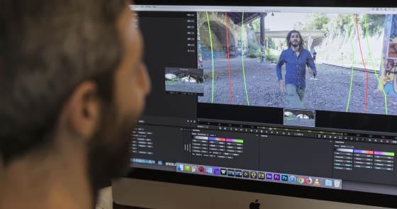 Postproduction avec Mistika VR, application de stitch temps réel avec optical flow, stabilisation...