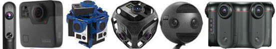 Principales caméras VR utilisées en formation : Kandao Qoocam, GoPro Fusion, Rig manuel de 7 GoPro, Rig GoPro Omni, Insta360 Pro, Kandao Obsidian S.