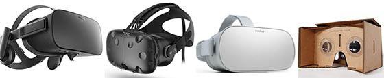 Casques VR : Oculus Rift, HTC Vive, Oculus Go, Google Cardbox
