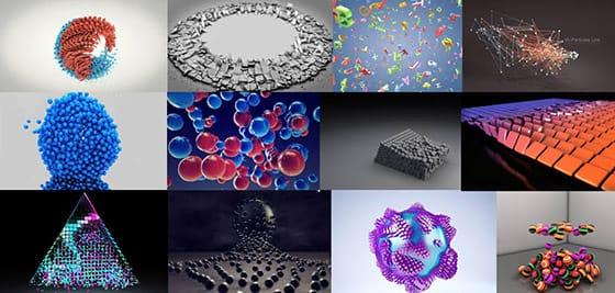 Quelques exemples de systèmes graphiques créés et animés grâce à Mograph
