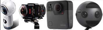 Samsung Gear, Kodak SP360, GoPro Fusion, Insta360 Pro.