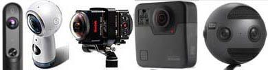 Principales caméras VR utilisées en formation : Qandao Qoocam, Samsung Gear, Kodak SP360, GoPro Fusion, Insta360 Pro.