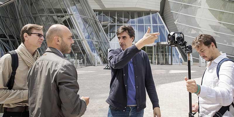 Tournage à la fondation Vuiton, avec rig GoPro Omni de 6 caméras GoPro, en formation VR : formateur Nanda Fernandez pour Video Design Formation