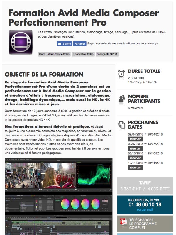 Formation Avid Media Composer Perfectionnement Pro