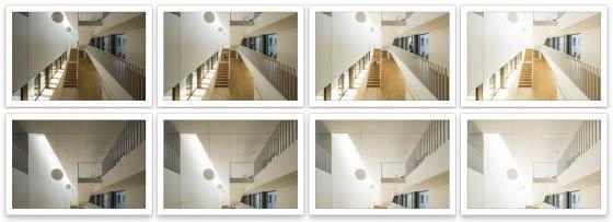 Prise de vues : 4 à 6 images de différentes expositions vont permettre d'enrichir la matière photographique, palier au contraste destructif de l'image et aux différentes températures de couleur contenues dans les sources d'éclairages.