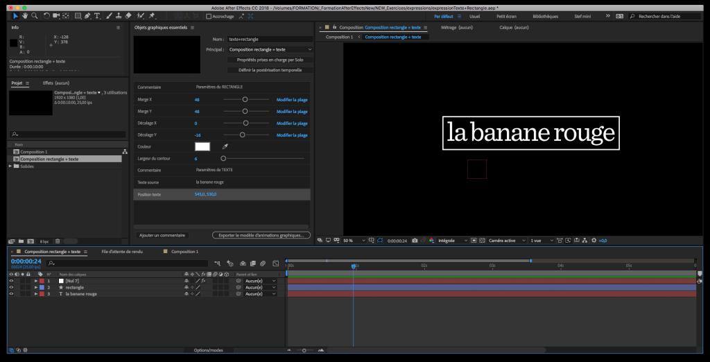 Le panneau Objets Graphiques Essentiels contient tous les paramètres nécessaires pour adapter cette animation d'apparition du texte