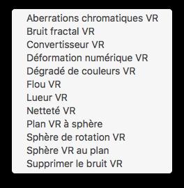 Liste des effets VR