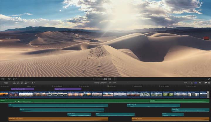 Capture d'écran de la Timeline de Final Cut Pro X, logiciel de montage professionnel.