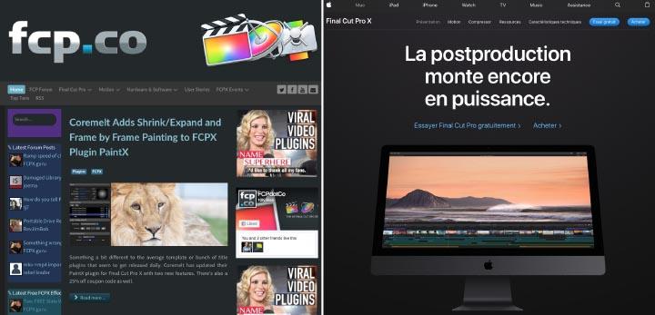 Fcp.co, le site pro des usagers de Final Cut Pro X et la page d'Apple consacrée au logiciel